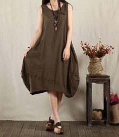 Linen dress maxi dress sleeveless dress cotton dress sundress casual loose dress linen blouse summer dress - Army Green