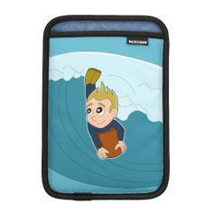 Bodyboarding boy cartoon iPad sleeve