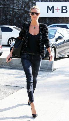 МАГАЗИН Isabel Marant Isabel Marant вуаль Гленн полосатый твидовый пиджак визит на Хайди Клум