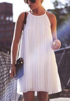 White pleated dress.