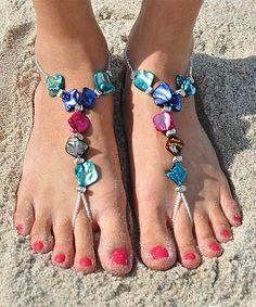 Blue & Turquoise Elegant Shell Beaded Barefoot Sandal