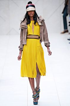love this floaty dress paired with the amazing motorcycle/bomber jacket! Burberry Prorsum Spring 2012 RTW.