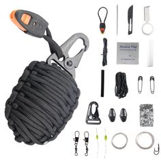 Campsnail 20 Accessories Emergency Survival Pod Kit wrapped in 550lb Survival Grenade Cord For Emergencies -- To view further for this item, visit the image link.
