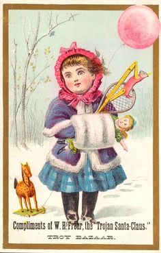 Sweetly Scrapped: Victorian Girl in Winter Snow with Christmas Gifts