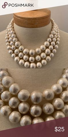 Statement pearl shape necklace 3 strands to stand out! This necklace weighs next to nothing. The baubles are light as air, comfortable to wear and have a lovely creamy taupe hue. Pop them with your skinny jeans and a plain white T! Or wear them with your LBD and a matching heel! Jewelry Necklaces