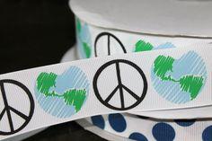Peace Sign Ribbon Earth Day 15 inch wide Grosgrain by tuteesribbon