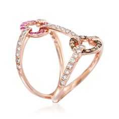 Ross-Simons - .88 ct. t.w. Diamond and Pink Sapphire Open Ring in 18kt Rose Gold - #844149