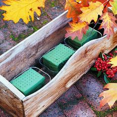 Make a window box filled with fall leaves...maybe a use for those pallets in the garage :)
