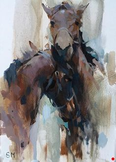 Abstract Horse Painting, Painting & Drawing, Abstract Art, Abstract Landscape, Art Aquarelle, Watercolor Paintings, Pastel Paintings, Horse Artwork, Horse Drawings