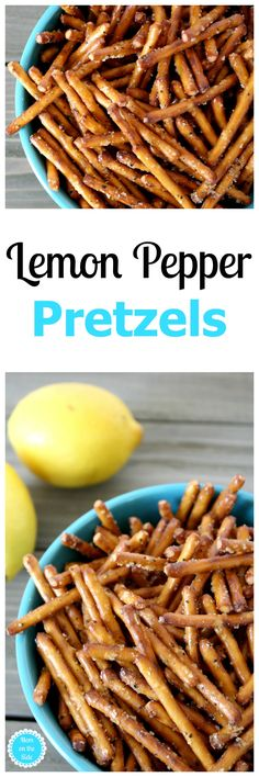These Lemon Pepper Pretzels will be your newest snack crush! Learn how to make these flavored pretzels for party snacks, and pretty much anytime. via @momontheside