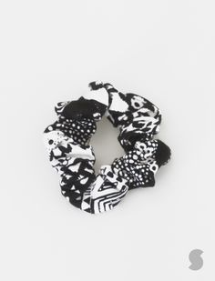 Black and White Multi-patterned scrunchie