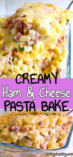 Creamy and cheesy Ham and Cheese Pasta bake is an awesome comfort food. Simple pasta casserole recipe to make in a pinch of a time!