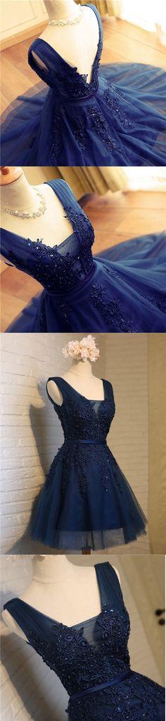 2017 Homecoming Dress Dark Navy Appliques Short Prom Dress Party Dress JK246
