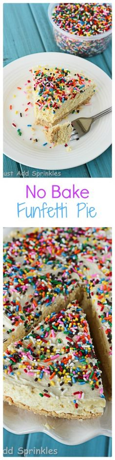 A yummy no bake pie that tastes just like funfetti cake - no oven required!