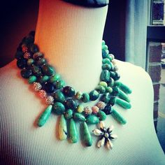 Photo by rachelmulherin  Turquoise statement necklace :) another fave! #jewels #jewelry #necklace #flower #floral #rachelmulherin #dmv #baltimore #makeastatement #holiday #christmas #handmade #style #fashion