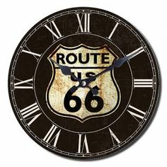 Yosemite Home Decor in. Circular Wooden Wall Clock with Route 66 Print - The Home Depot Wooden Clock, Wooden Walls, Route 66, Decoupage, Small Clock, Old Fireplace, Fireplaces, Tabletop Clocks, Wall Clock Online