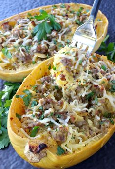 Sausage Spaghetti Squash with Apple Cider Glaze is hitting the dinner table! Sausage, parmesan cheese and reduced apple cider makes this squash a meal! Sausage And Spaghetti Squash, Spaghetti Squash Casserole, Spaghetti Squash Recipes, Zucchini Spaghetti, Sausage Recipes, Cooking Recipes, Healthy Recipes, Keto Recipes, Pork Recipes