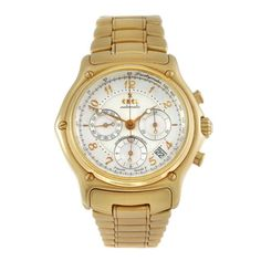 EBEL - a gentleman's Le Modulor chronograph bracelet watch. 18ct yellow gold case with exhibition ca