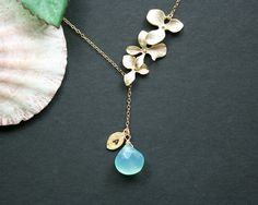 Initial birthstone and leaf necklace orchid flower by DelicacyJ, $38.00