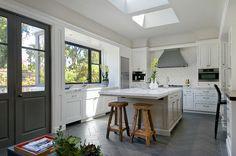 Contemporary Kitchen Design with Italian Volcanic Basalt Tile in Herringbone Style Flooring