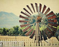 WINDMILL - digital high resolution file - fine art landscape photography - rural country afternoon rustic old farm windmill fence