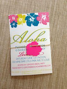 Hawaiian Bridal Shower Invitation | Hibiscus Wedding Invites | Printable Hawaiian  Invitations