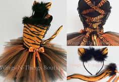 TIGER CAT COSTUME Tutu Dress 3pc Set w/ Kitty Ear Headband, Removable Cat Tail, Orange and Black, Tigger, Pageant, Toddler, Girls, Halloween by wingsnthings13. Explore more products on http://wingsnthings13.etsy.com