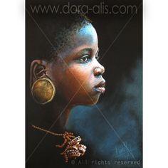 Los más hermosos retratos de niños africanos. Únicos en el mundo. Retratos al oleo sobre lienzo, acrílico sobre lienzo, lápiz de grafito, tiza pastel al aceite, ilustraciones, dibujos, pintura al oleo. Obras de arte originales, piezas únicas.