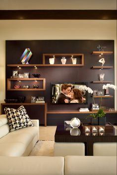 Timber shelling with dark brown/grey wall - lovely combination