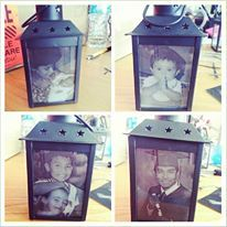 Photo Lanterns Centerpiece - Graduation or Birthday Party. Purchased lanterns at LunaBazaar and used vellum paper to print out photos. Purchased LED tea lights at Michael's Arts and Crafts with a 40% coupon!!!  http://www.lunabazaar.com/CL032BK-hurricane-candle-lanterns.aspx