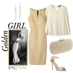 Etcetera | Holiday 2015: Golden Girl. GILT gold dress, PIAZZA ivory knit capelet. www.etcetera.com.