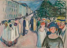 Promenade on Karl Johan oil on canvas 72 x 100 cm Munch Museum , Oslo Dark Paintings, Edvard Munch, Buy Posters, Claude Monet, Oslo, Classical Music, Printmaking, Oil On Canvas, Composition