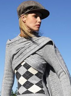 Cable-knit scarf, with sleeves, 8-18, grey only, £139; Argyle round-neck sweater, 8-18, also in orange/grey, £129. Tweed, baker-boy hat, £5, Cherokee, Tesco stores; 0800 50 5555. - Fashion Galleries - Telegraph