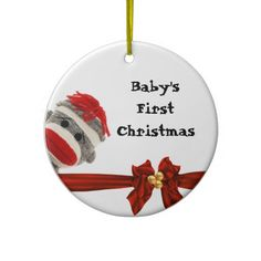 BABYS FIRST SOCK MONKEY ORNAMENT PERSONALIZED