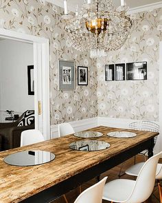 dining room + wallpaper (also love that black & white pillow in the background)
