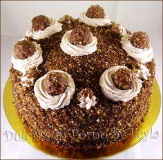 torta Rocher ricetta golosa, molto golosa ricetta per le feste torta di compleanno ferrero rocher crema rocher torta golosa torta di effetto torta scenografica torta natalizia torta per Natale torta per capodanno torta compleanno cioccolato nutella torta con nutella nocciole mascarpone torta mascarpone e nutella torta nutella e mascarpone nutella cake rocher cake ferrero rocher cake pan di spagna al cacao pan di spagna al cioccolato ricetta passo passo Dulcisss in forno by Leyla