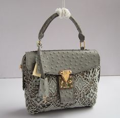 Louis Vuitton Real Leather handbags gray M97847