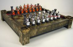MEDIEVAL TIMES CRUSADES WARRIOR red & white chess set W/ CASTLE BOARD 17