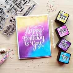Nice color combo of distress inks used on the background of this handmade birthday card by Kreative Kymona