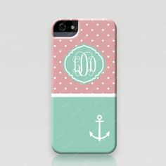 Monogrammed iPhone 5 and 5s Case - Polka Dots Anchor in Pink Teal - Froolu