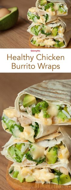 Healthy Snacks Next time youre in the mood for a Mexican-inspired burrito, slash the calories and whip up a batch of our Healthy Chicken Burrito wraps instead. Healthy Drinks, Healthy Cooking, Healthy Snacks, Healthy Eating, Cooking Recipes, Healthy Recipes, Healthy Wraps, Healthy Burritos, Healthy Chicken Wraps