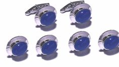 New Sterling Silver  Natural Blue Sapphire Cufflinks & tuxedo buttons for Men's  #SimSimSilver