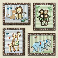 Noah's Ark Jungle Animals Nursery Baby Kids Wall Art Decor M2M s s Noah