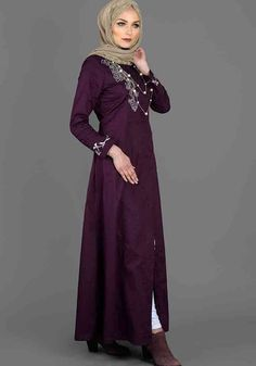 #Plum pocket #longline embroidered #abaya_only at £54.99