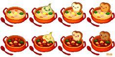 Stew set by YuukiMokuya on DeviantArt Pixel Art Food, Food Art, Food Sketch, Game Icon, Food Drawing, Food Illustrations, Cute Food, Animal Crossing, Stew