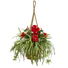 Nearly Natural Hibiscus & Spider Artificial Hanging Basket Silk Plants Red