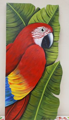 Arte arara vermelha por Fabiana Kaled