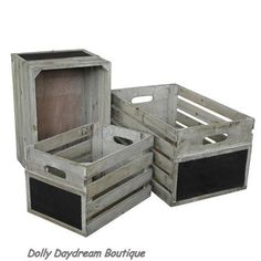Storage crates with blackboard fronts http://stores.ebay.co.uk/Dolly-Daydream-Boutique