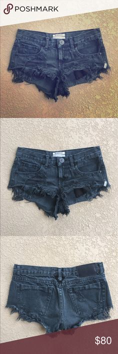 One Teaspoon Black Distressed Bonitas Shorts 24 Great condition! Only worn a few times One Teaspoon Bonitas Denim Shorts. Size 24. Color is faded black. One Teaspoon Shorts Jean Shorts