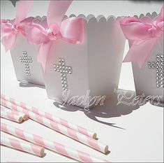 Beautiful silver rhinestone cross popcorn favor boxes each features a luxury, pink double satin ribbon hand tied bow. Baptism and Communion tables and dessert bars will sparkle with bling. First Communion Party, Communion Favors, Baptism Favors, Baptism Party, First Holy Communion, Baptism Ideas, Baptism Decorations, Baptism Centerpieces, Baby Girl Baptism